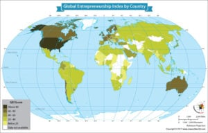 World Map Showing the Global Entrepreneurship Index by Country