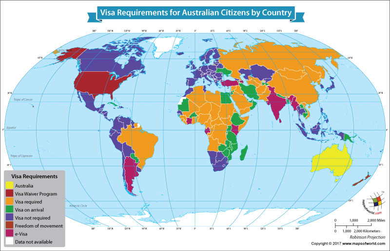 World Map Showing the Visa Requirements for Australian Citizens by Country
