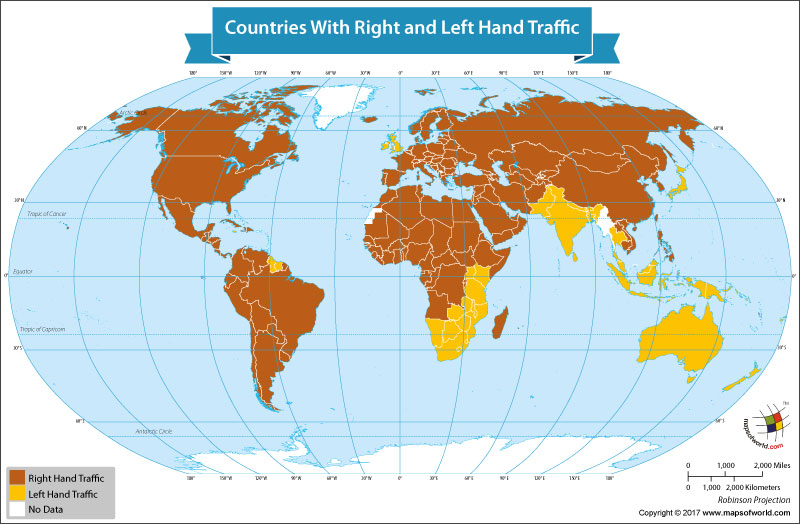 World Map Showing Left Hant Traffic and Right Hand Traffic