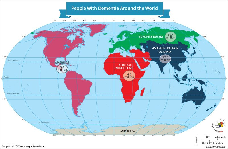 World Map Showing People With Dementia Around the World