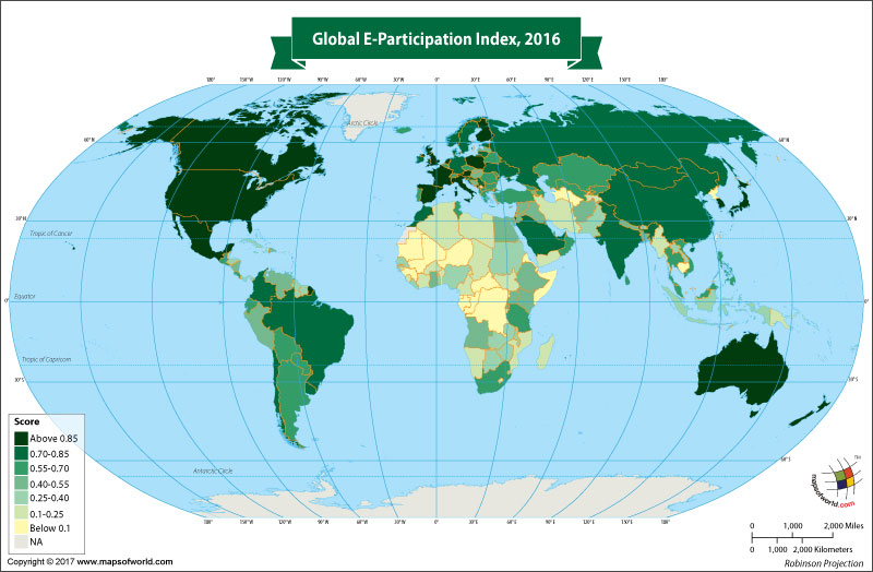 World Map Showing Global E-Participation Index 2016