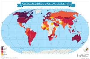 World Map Showing Political Stability and Absence of Violence/Terrorism Index