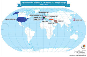 World Map Showing Top Ten Winners of Karate World Championships