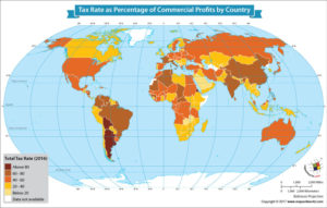 World Map Showing Tax Rate as Percentage of Commercial Profits by Country