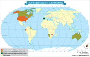 World Map Showing Countries That Use Dollar as Their Currency