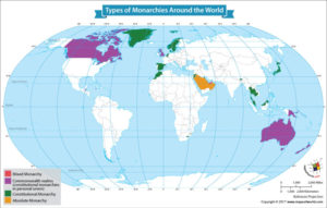 World Map Showing Types of Monarchies Around the World