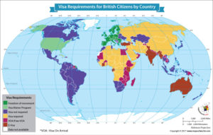 World Map Showing Visa Requirements for British Citizens by Country