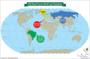World Map Showing the FIFA Beach Soccer World Cup Champions