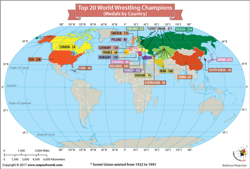 World Map Showing the World Wrestling Champions