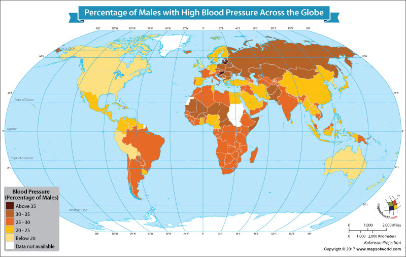 World Map Showing the Percentage of Males with High Blood Pressure Around the World