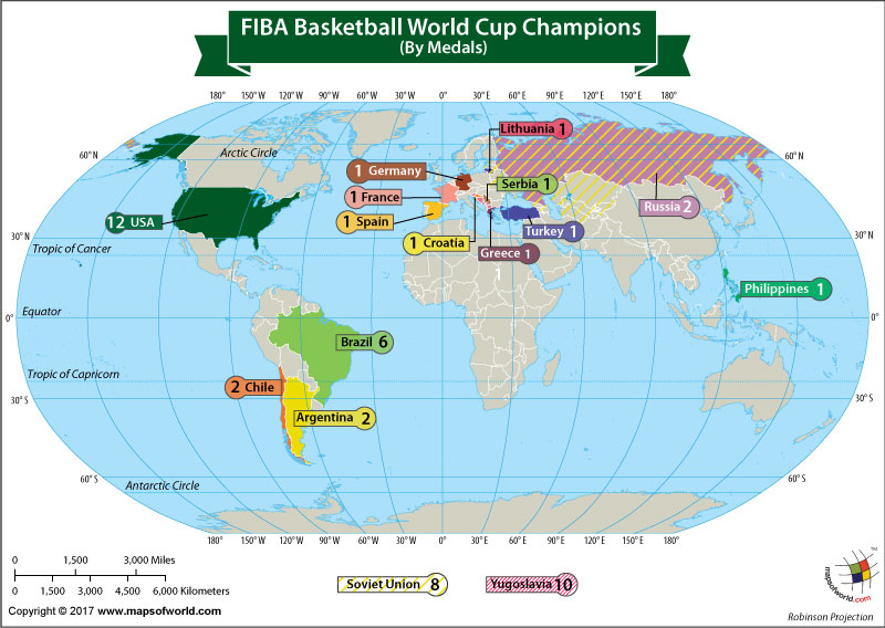 World Map Showing the FIBA Basketball World Cup Champions