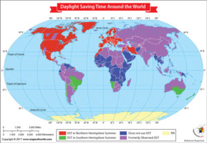 World Map Showing Daylight Saving Time Around the World