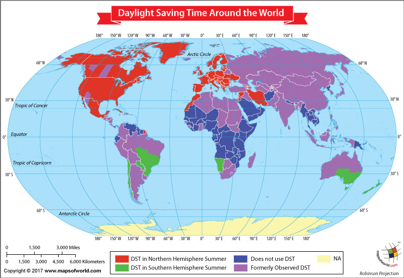 World Map Showing Daylight Saving Time Around the World