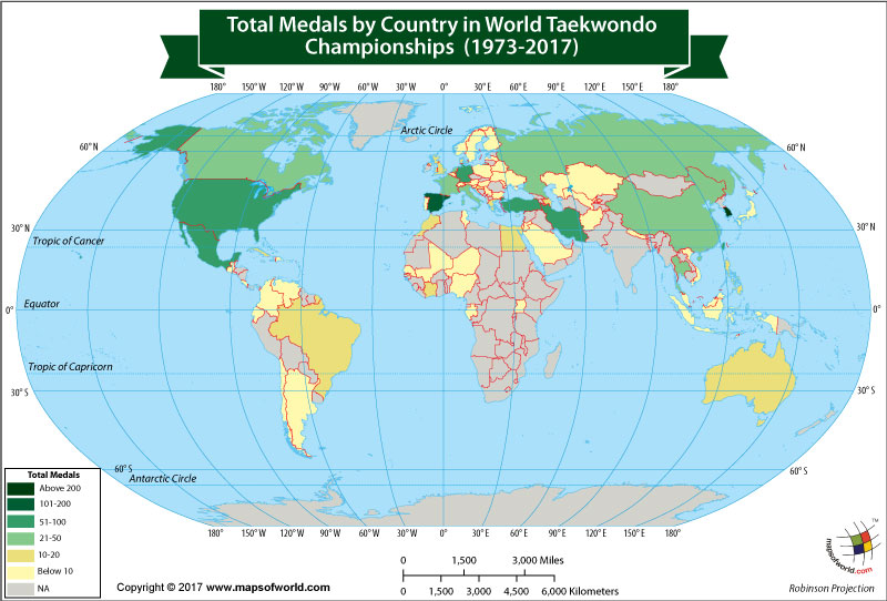 World Map Showing Winners of the World Taekwondo Championships