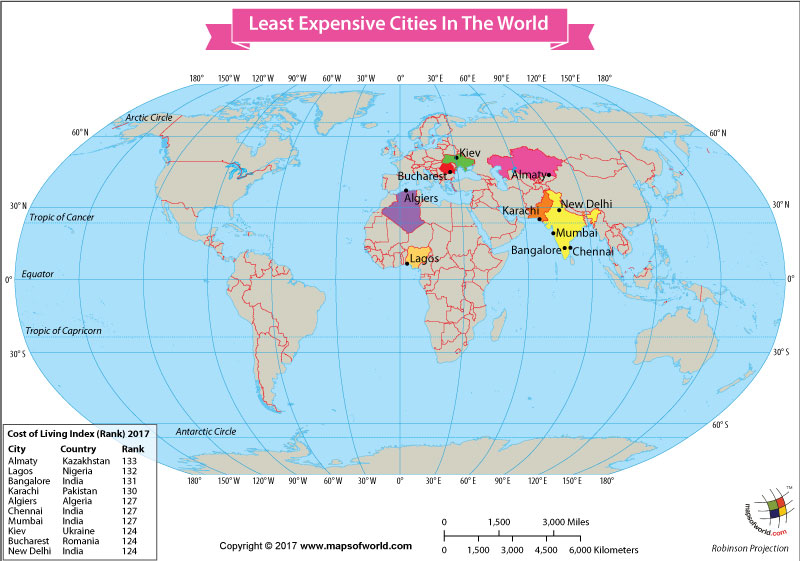 The least expensive cities in the world our world world map showing the least expensive cities in the world gumiabroncs Image collections