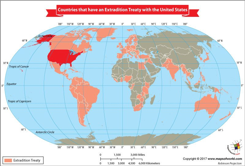 World Map Showing Countries That Have an Extradition Treaty with the United States