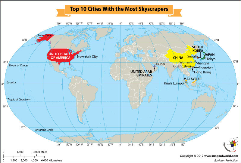 World map showing cities that have the most skyscrapers