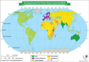 World Map Showing Visa Requirements for French Citizens Around the World