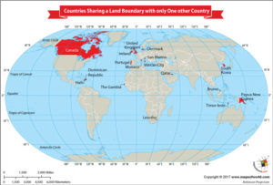 World Map Depicts the Countries that Share their Land Boundary with Only One other Country