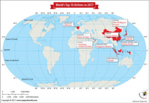 World Map Showing the World's Top Ten Airlines in 2017