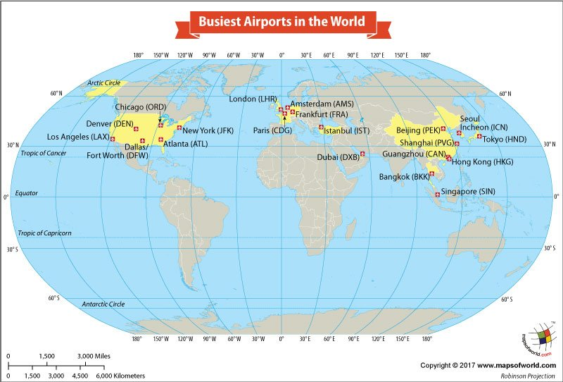 World Map Showing the Busiest Airports in the World