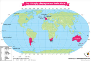 World Map Showing Top 10 Rugby Playing Nations