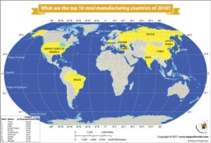 World Map Showing the Top Ten Steel Manufacturing Countries of 2016