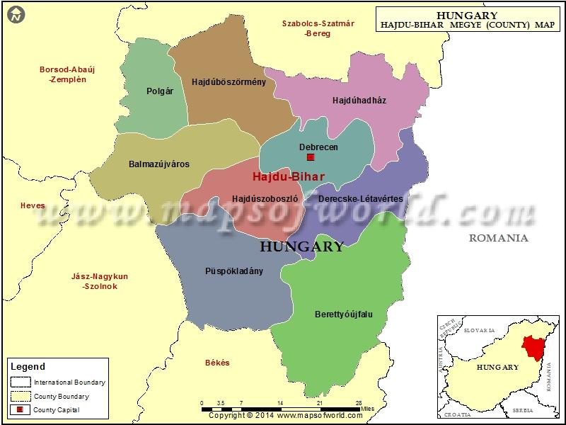 Map of Hajdu-Bihar County, Hungary