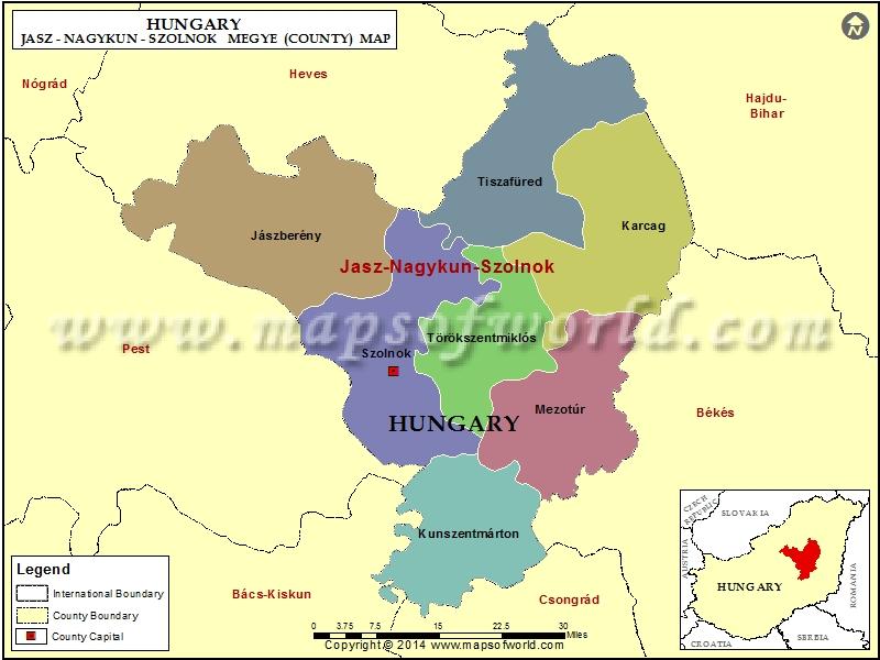 Map of Jasz-Nagykun-Szolnok County, Hungary