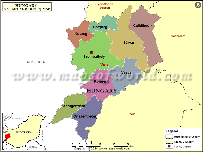 Map of Vas County, Hungary