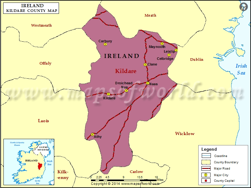 Kildare Map Map Of Kildare County Ireland