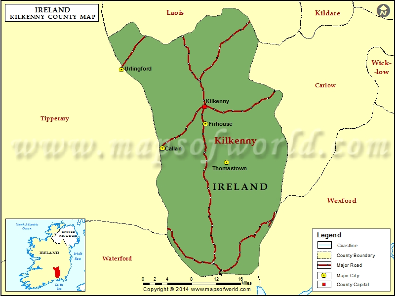 Map of Kilkenny County, Ireland