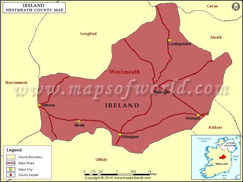 Map of Westmeath County, Ireland