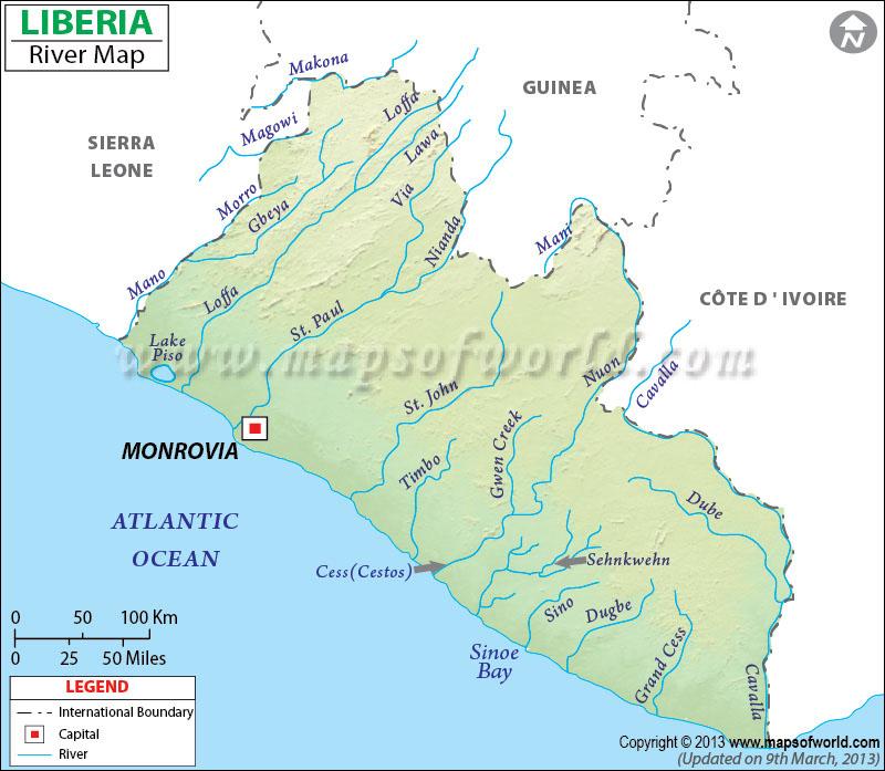 Liberia River Map
