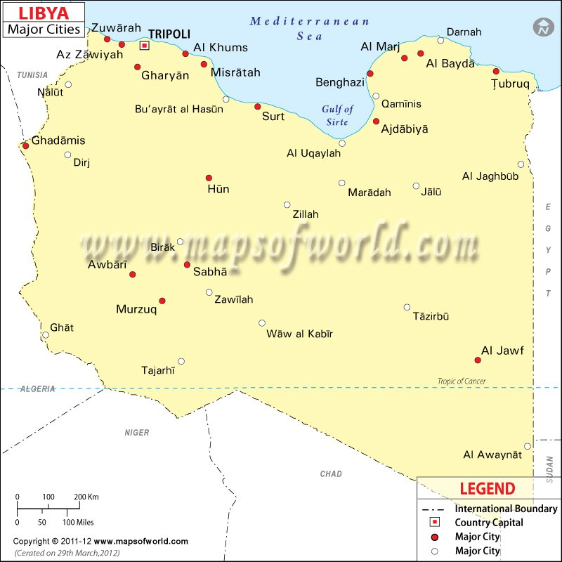 Libya Cities Map Major Cities In Libya - Libya blank map