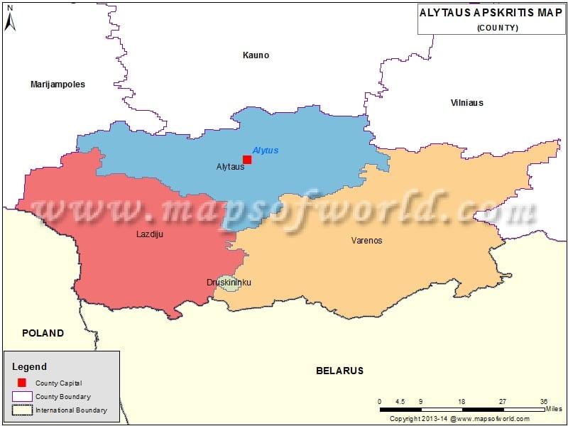 Map of Alytus Apskritis,  Lithuania