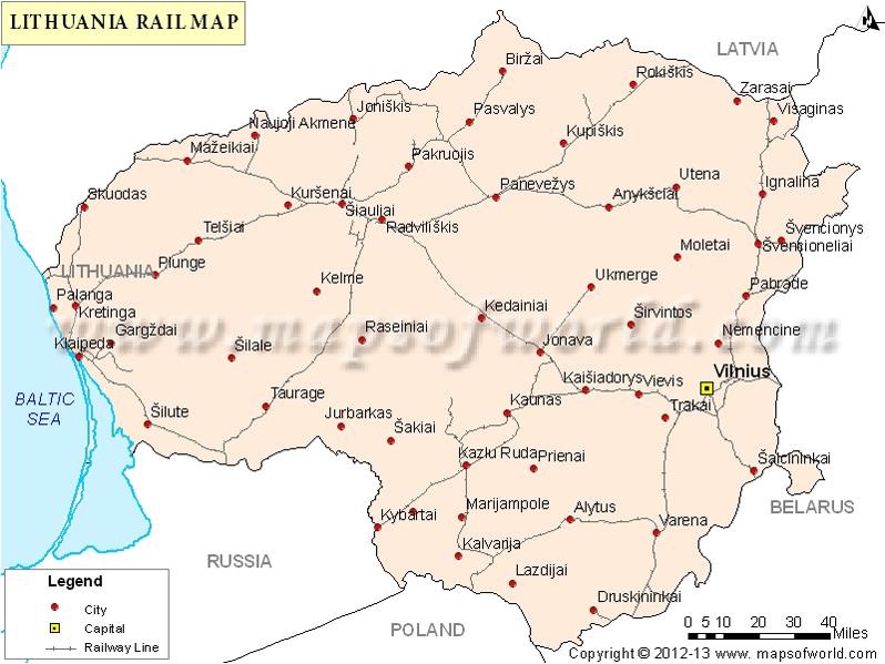 Lithuania Rail Map