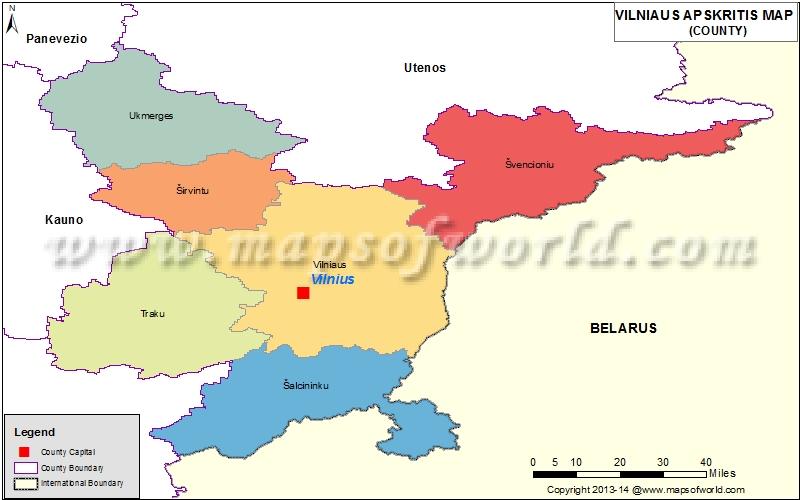 Map of Vilniaus  Apskritis,  Lithuania