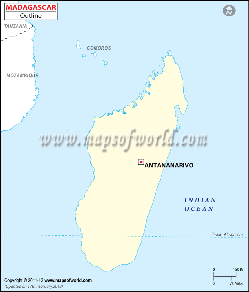 Madagascar Outline Map