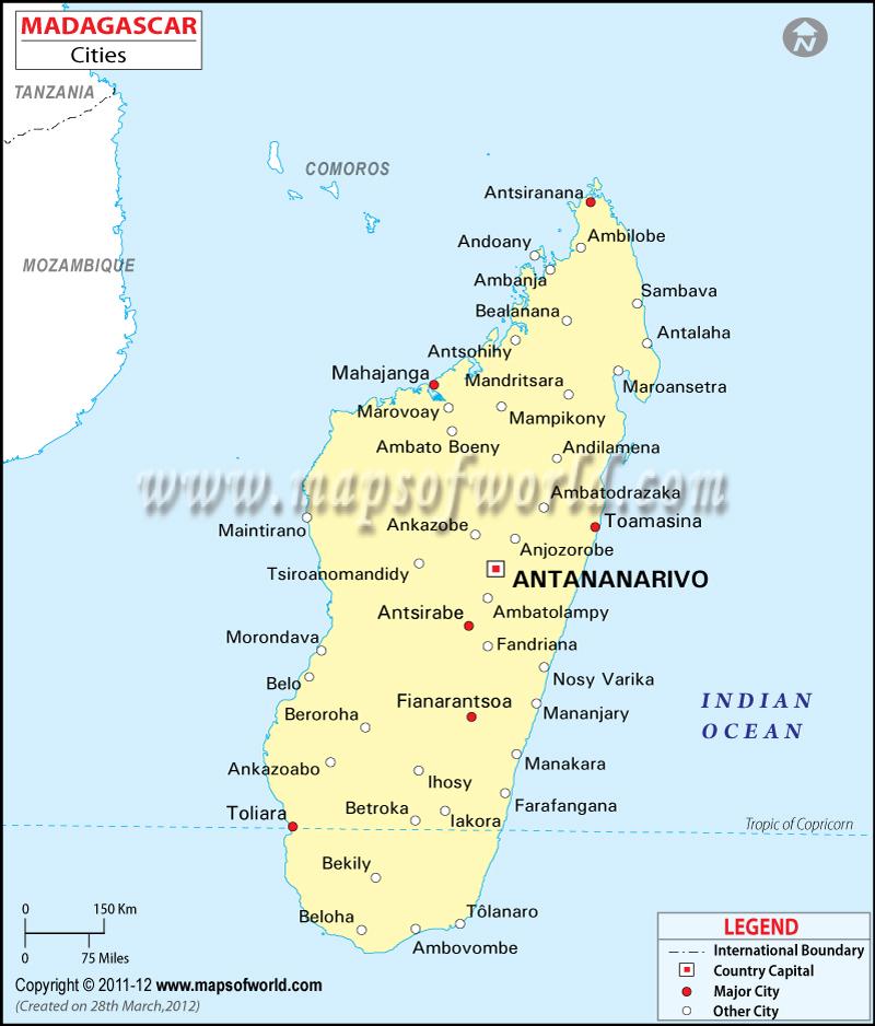 Madagascar Cities Map