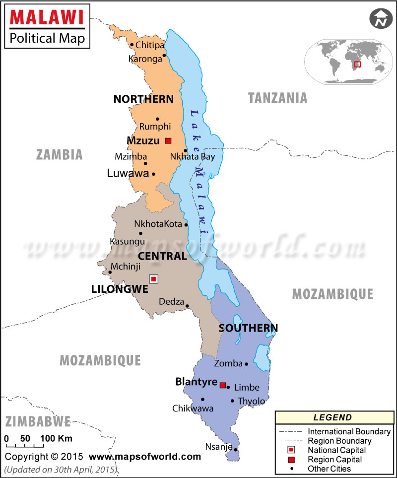 Mapa político de Malawi