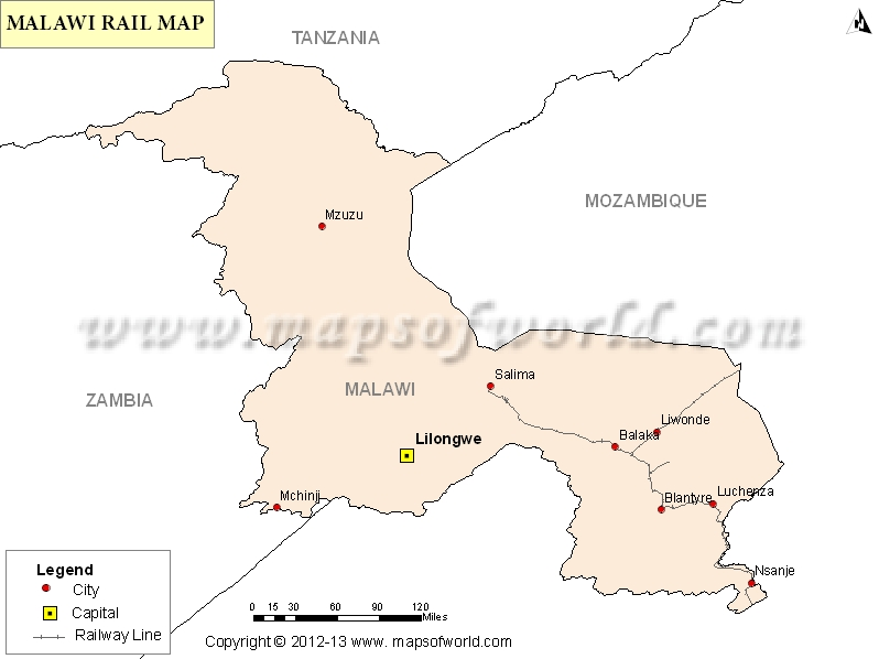 Malawi Rail Map