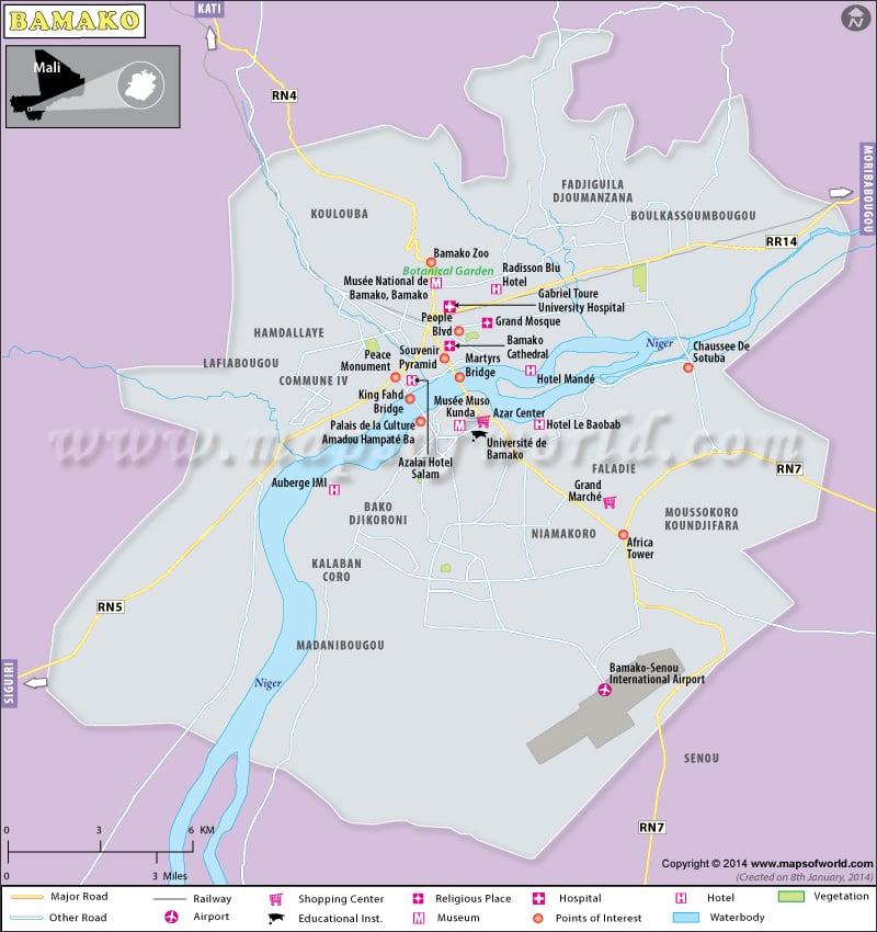 Bamako Map | Map of Bamako City, Mali Bamako Map