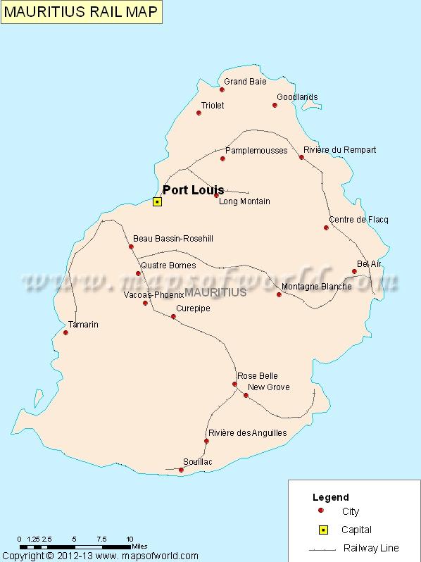 Rail Map - Mauritius maps