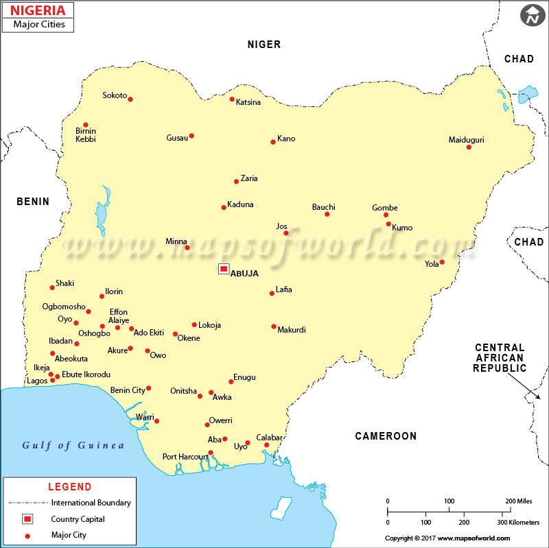Nigeria Cities Map