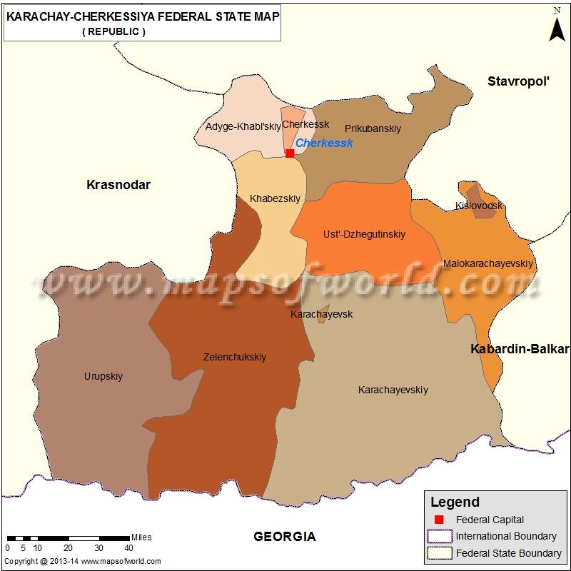 Karachay-Cherkessia  Republic Map, Russia