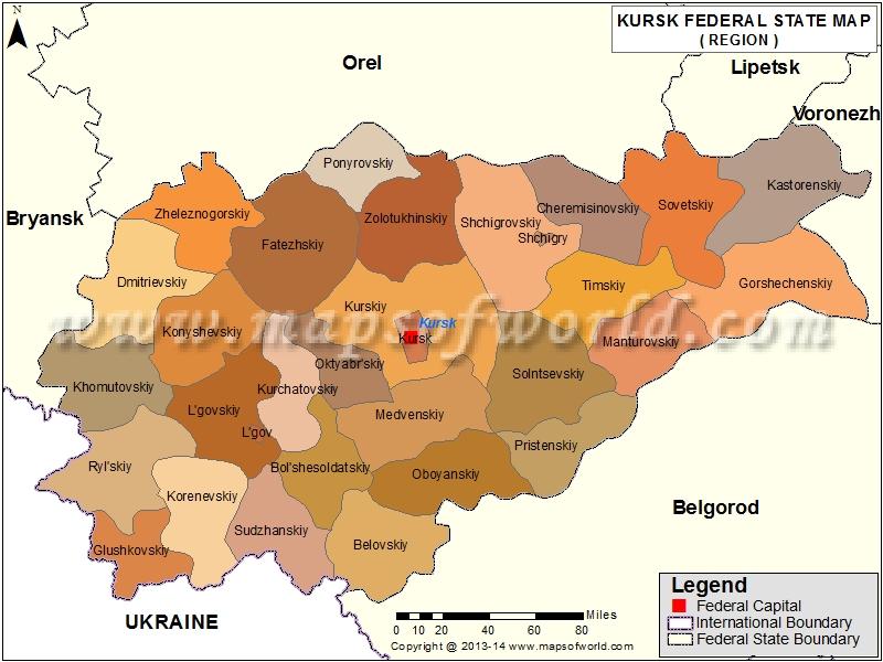 Kursk Oblast Map, Russia