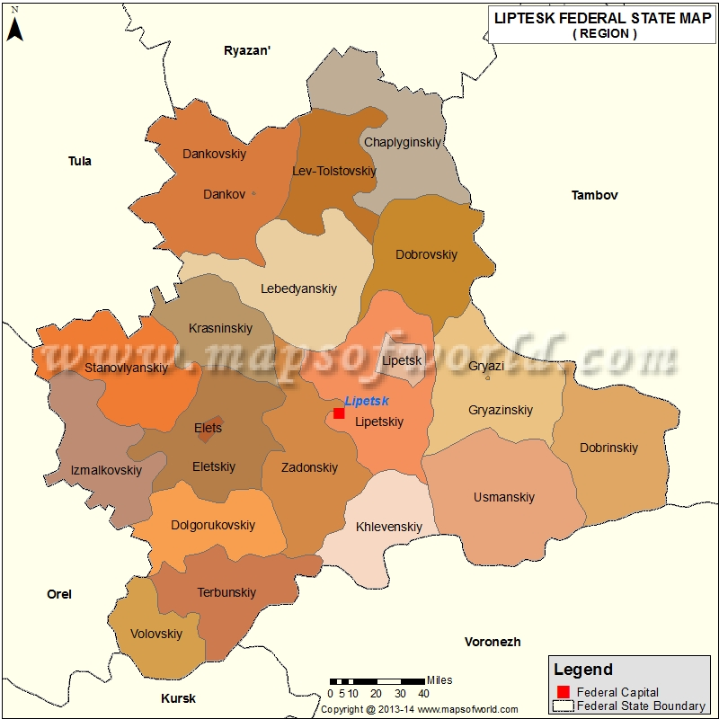 Lipetsk Oblast Map, Russia
