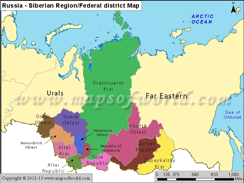 Russia Siberian Region Map