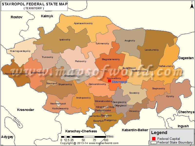 Stavropol Map, Kray of Stavropol, Russia